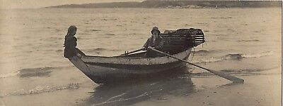 c1915~Lobster Fishing~Evocative Vintage Photograph~Little Girl Perches on Canoe