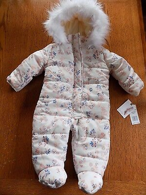 NWT Jessica Simpson Baby Girl Winter  Hooded Snowsuit Bunting 6/9 Months  $85.00