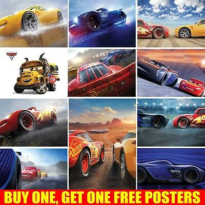 Cars 3 Posters | Kids Boys Girls | Wall Art Poster | A4 A3 size | 200gsm Gloss