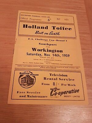 *SOUTHPORT v  WORKINGTON FA CUP 1st ROUND 1959/60~FREE POSTAGE*