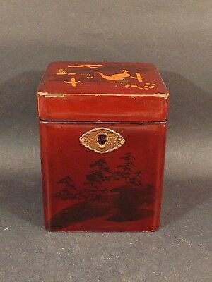 Antique ~ Victorian ~Japanese Decorated And Lacquered ~ Tea Caddy