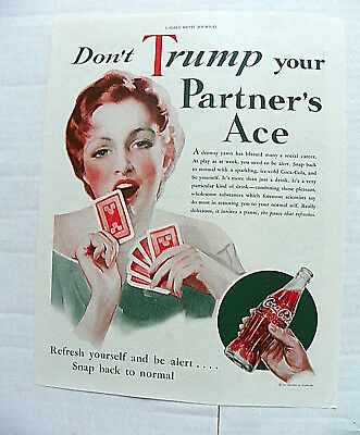 "1933,sept. Ladies' Home Journal ""don't Trump Your  Parther's Ace"" Woman Yawning"