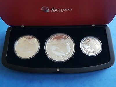 "Austr. Lunar II 2010 - ""Year of the Tiger"" Tiger - 3 Coin Set - Proof"