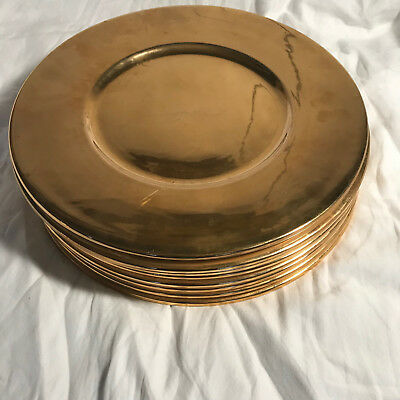 Vintage Set Of 8 Christofle Gold Tone Chargers - 12.5 inches Diameter