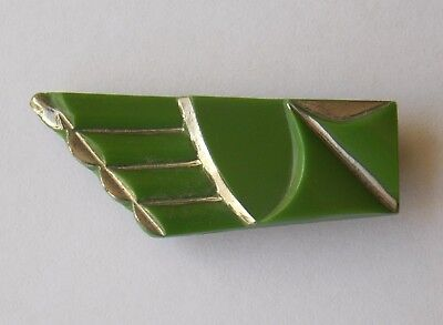 Eye-catching 1930s Czech Art Deco green dress or fur clip with white metal trim