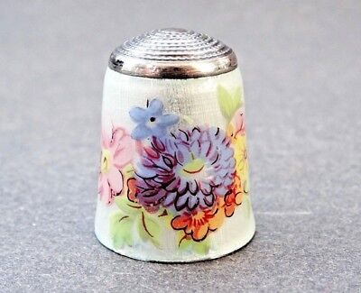 Vintage James Swann & Sons Sterling Silver & Floral Enamel Thimble Hallmarked