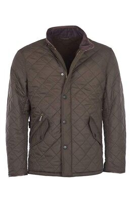 BARBOUR Men's Jacket Size MEDIUM Olive Powell Quilted Coat