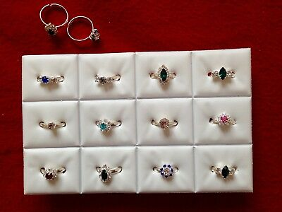 JOBLOT-12 rings of 5 styles crystal/colour diamonte. Silver plated.UK handmade.