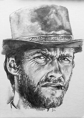 Original ACEO Pencil Sketch Card Clint Eastwood The Good The Bad The Ugly