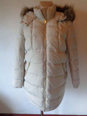 H&m Mama Maternity Cream Quilted Showerproof Coat Jacket Size M 12-14