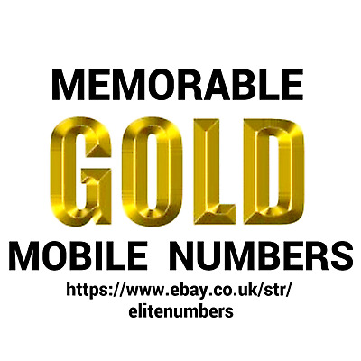 Easy Memorable Gold Mobile Numbers Pay As You Go Sim Cards O2 Vodafone Ee Three