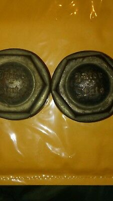 2 ANTIQUE VINTAGE EARLY  Threaded Interstate Hubcaps  RARE!!