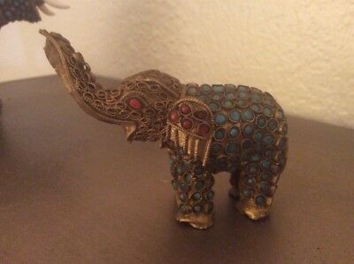 Antique  Chinese Nepal Elephant Figure with Inlaid Stones 19th Century