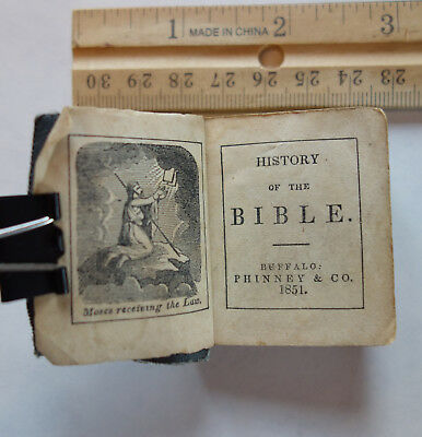 "Antique 2"" miniature book: History of the Bible 1851, Phinney & Co, Buffalo"