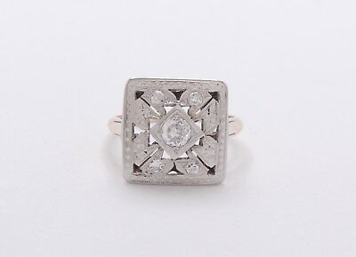 Art Deco 14k Yellow & White Gold Round Brilliant Diamond 1/3cttw Ring