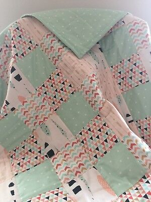 Baby Girl Quilt with feathers/woodland