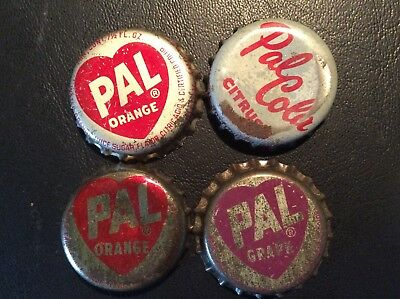 4  Different Pal Cola  Soda  Bottle Caps - used   - Cork Lined