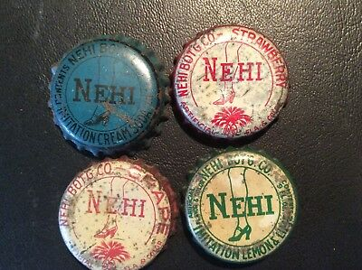 4  Different  Nehi   Soda  Bottle Caps - used   - Cork Lined