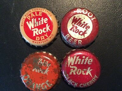 4  Different  White Rock   Soda  Bottle Caps - used   - Cork Lined