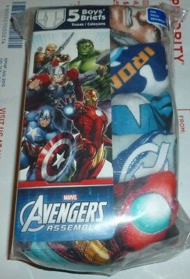 Marvel Avengers Boy's Briefs Underwear 5 Piece Set Size 4 or 8 Fruit of the Loom