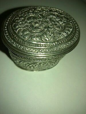 Antique old hand hammered  silver box
