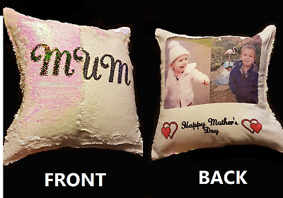 Personalised Cushion Cover Printed Photo Gift Custom Made Print- Sequin Cushion