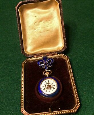 """GERMAN Theme Guilloche Blue Cobalt Silver 800 Gold plated """"Argent Dore"""" Watch"""