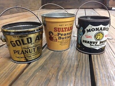 Awesome collection of antique peanut butter tins.