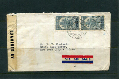 Mexico Military Mail Passed By Censor Stamp Cover Air Mail To New York Usa