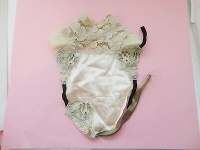 Antique Victorian Embroidered Lace Women's Rose 3 Applique Collar Dickie