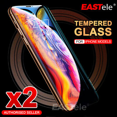 2x EASTele iPhone XS Max XR X 8 7 Plus Tempered Glass Screen Protector Apple SE