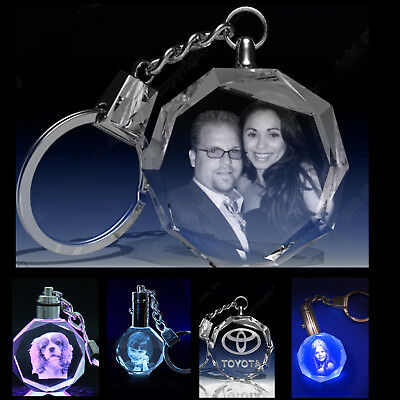 Personalized Photo Laser Engraved  Crystal Key Chain Wedding Anniversary Gift