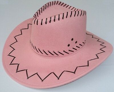 New Womens Faux Suede Pink Cowgirl Western Costume Hat with Chinstrap Halloween