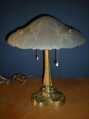 Brass Sarsaparilla Table Lamp Heavy Frosted Rose Shade Art Deco/ Nouveau Vintage