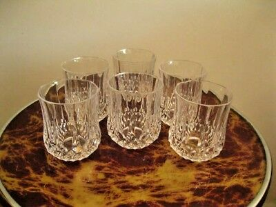 "CRYSTAL d'ARQUES ""LONGCHAMP"" DESIGN WHISKY GLASSES."