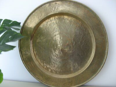 Antique Heavily Engrave Round Brass Wall Hanging Or Side Table Top