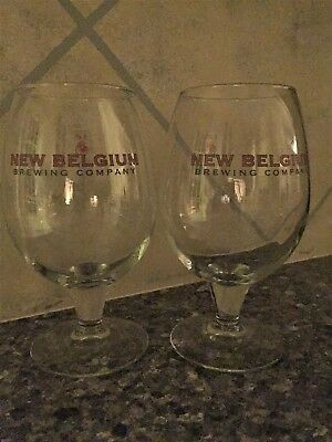 Pair of pre-owned perfect condition New Belgium Brewing Co 16 oz glasses