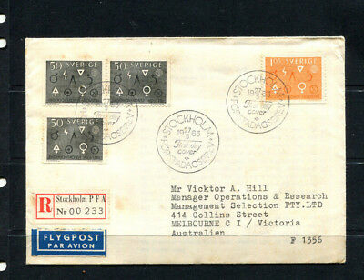 Sweden 1963 Fdc First Day Cover Registered Post Stockholm To Australia  Lot 135