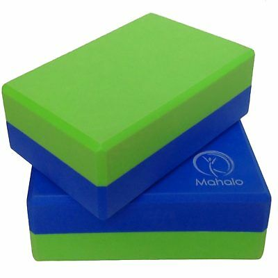 2 X Yoga Blocks - High Density Foam Stretching Exercise Bricks - 2 tone colour