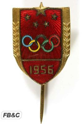 XVIth Olympic Games Chinese Delegation Enamel Badge - Melbourne 1956