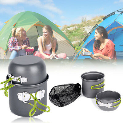 Camping Cookware Mess Kit Backpacking Gear & Hiking Outdoors Bug Out Bag Cook CN