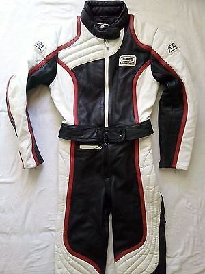 Vintage JUMBO INT.70' Futura Motorcycle Biker Leather Suit Two Pcs Size EU40