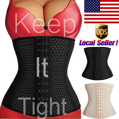 Women Waist Training Cincher Tummy Girdle Belt Body Shaper Black Corset Trimmer