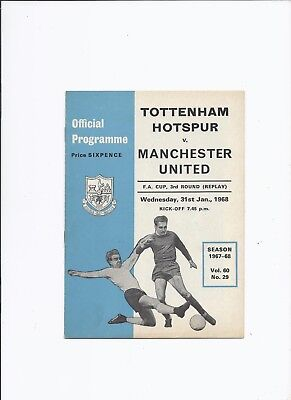 Tottenham Hotspur v Manchester United 31 January 1968 FA Cup 3rd Round Replay
