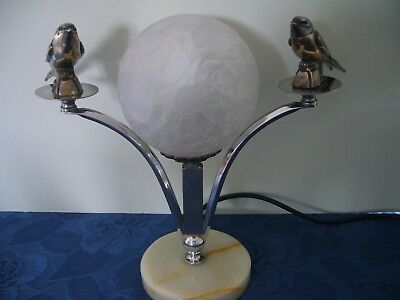 Antique Art Deco French  Birds Glass Table Lamp