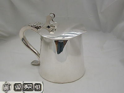 Rare Edwardian Hm Sterling Silver Arts & Craft Lidded Tankard