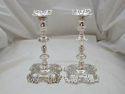 RARE PAIR Geo II HM STERLING SILVER CANDLESTICKS 1747
