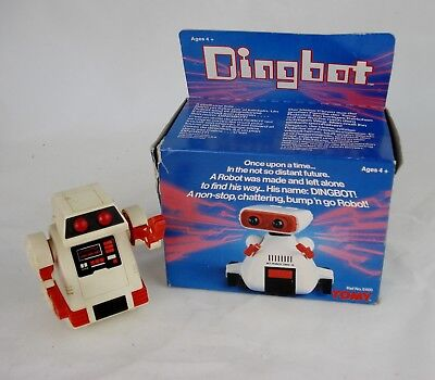 1980's Vintage TOMY Dingbot Battery Operated Robot Working Classic Toy