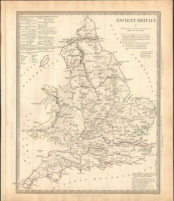 1834 Antique Map- Sduk - Ancient Britain I