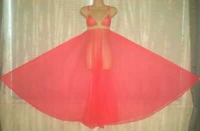 Vintage Deena Full Sweep Sheer Chiffon Nightgown Gown Negligee M